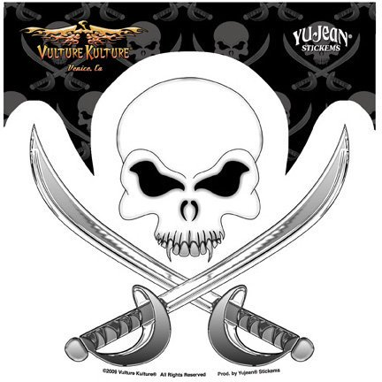 Vulture Kulture - Pirate Skull and Crossbones - Sticker / Decal - Skull And Crossbones Stickers