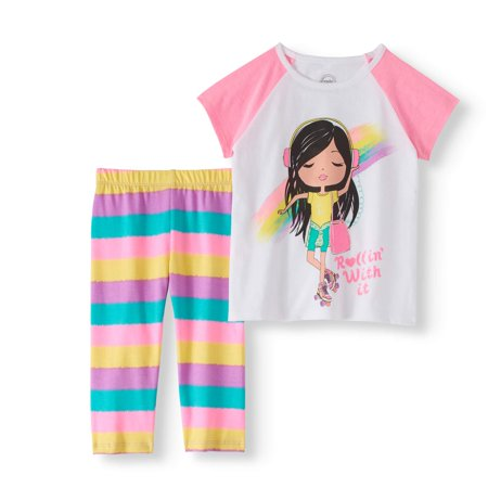 Little Girl Planter - Little Girls' 4-8 Raglan Graphic T-shirt and Capri Legging 2-Piece Outfit Set