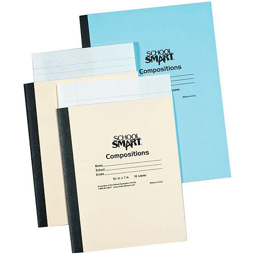 """School Smart Stitched Cover Composition Book with Red Margin, 8.5"""" x 7"""", 20 Sheets"""