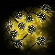 Solar 20 LED Moroccan Metal Hollow Silver Ball Garden Christmas String Lights