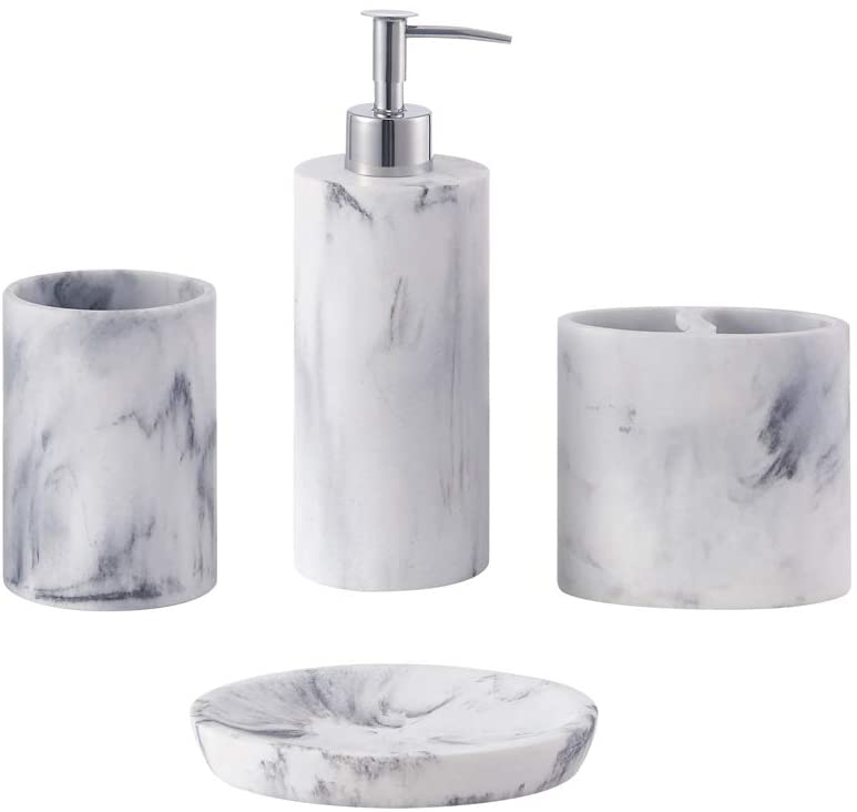 Zccz Bathroom Accessory Set 4 Pcs, Marble Bathroom Accessories Sets