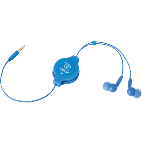 ReTrak Emerge Retractable Stereo Earbuds, Assorted Colors