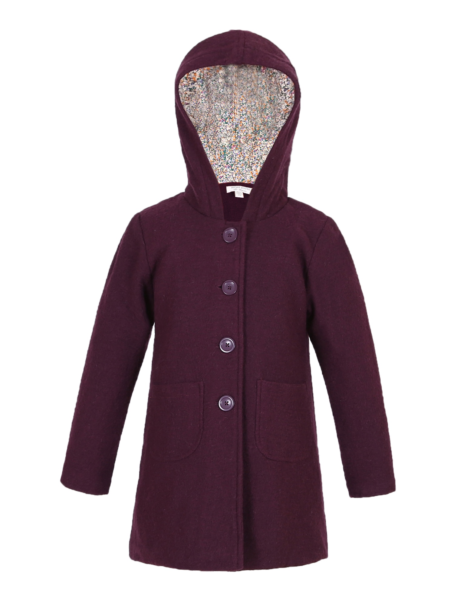 Richie House Girls' Double-breasted Wool Jacket with Hood RH2231