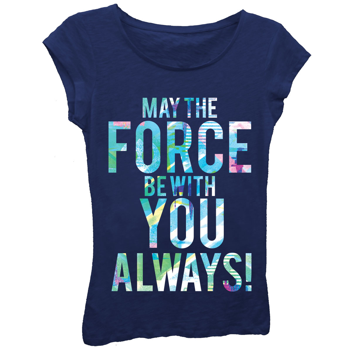"""Girls' """"May The Force Be With You Always!"""" Short Sleeve Graphic T-shirt With Crystalline"""