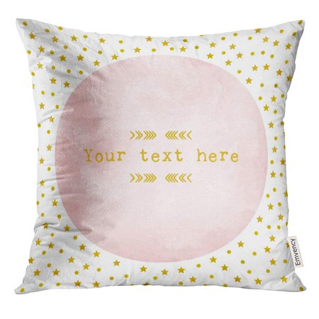 ARHOME Red Christmas Pink Watercolor Circle with Gold Star and Polka Dot Pattern Design Yellow Light Pillow Case 20x20 Inches Pillowcase