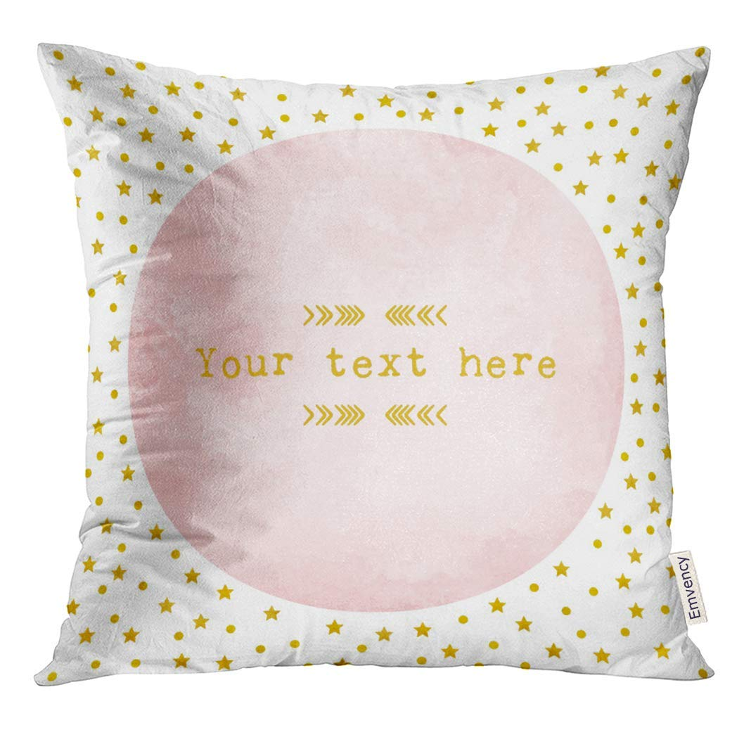 USART Red Christmas Pink Watercolor Circle with Gold Star and Polka Dot Pattern Design Yellow Light Pillow Case 16x16 Inches Pillowcase