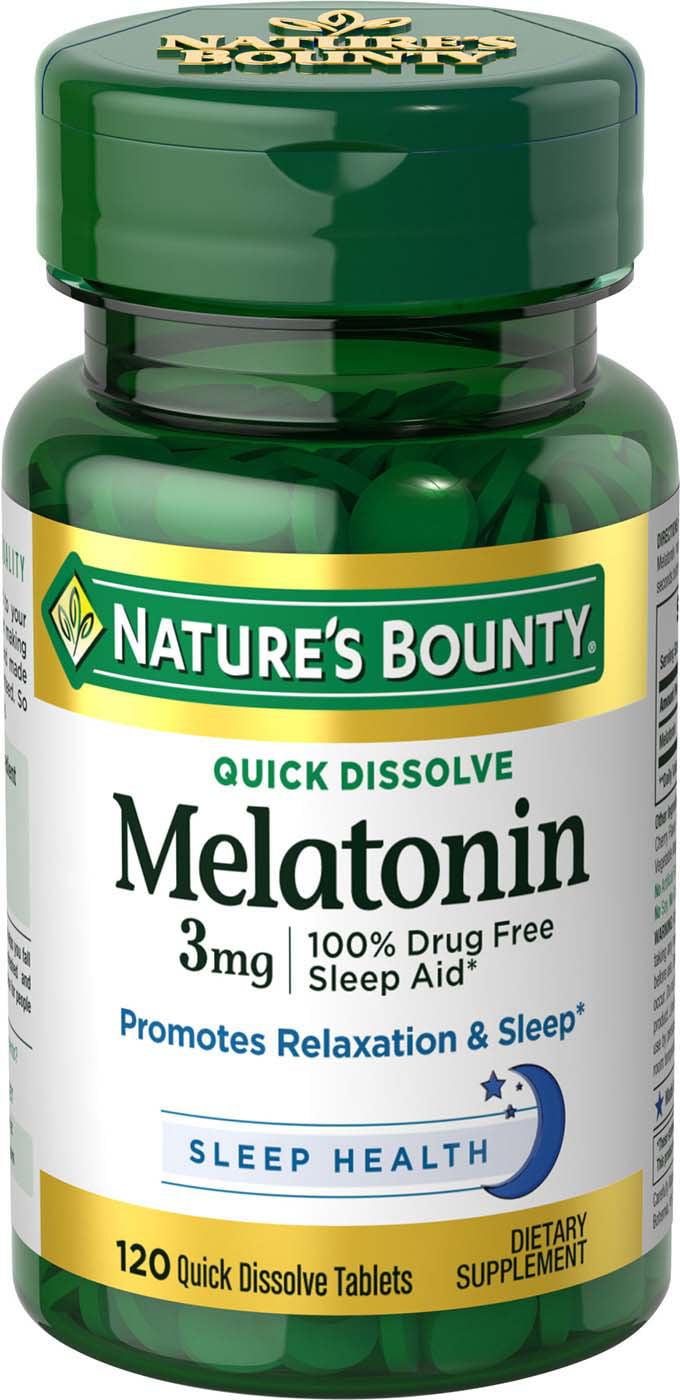melatonin bounty mg nature dissolve tablets quick walmart natures supplement