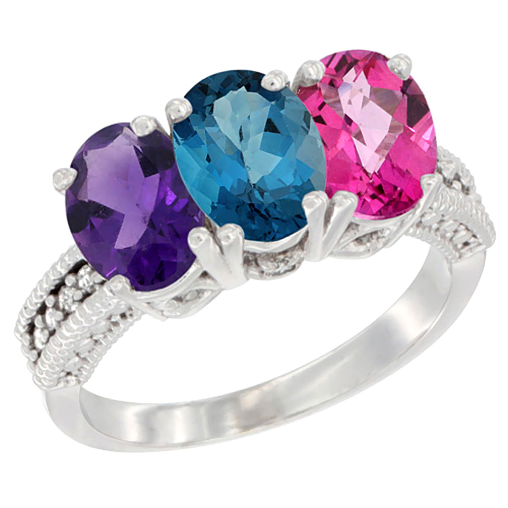 10K White Gold Natural Amethyst, London Blue Topaz & Pink Topaz Ring 3-Stone Oval 7x5 mm Diamond Accent, sizes 5 10 by WorldJewels