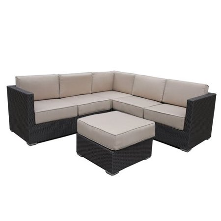 Abba Patio 4 Pcs All Weather Outdoor Wicker Sofa Sectional Set Patio