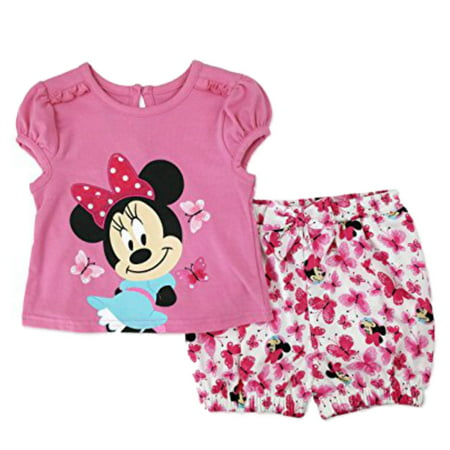 Disney Infant Girls Pink Minnie Mouse Outfit Shirt & Bloomer Shorts Set](Baby Minnie Mouse Outfit)