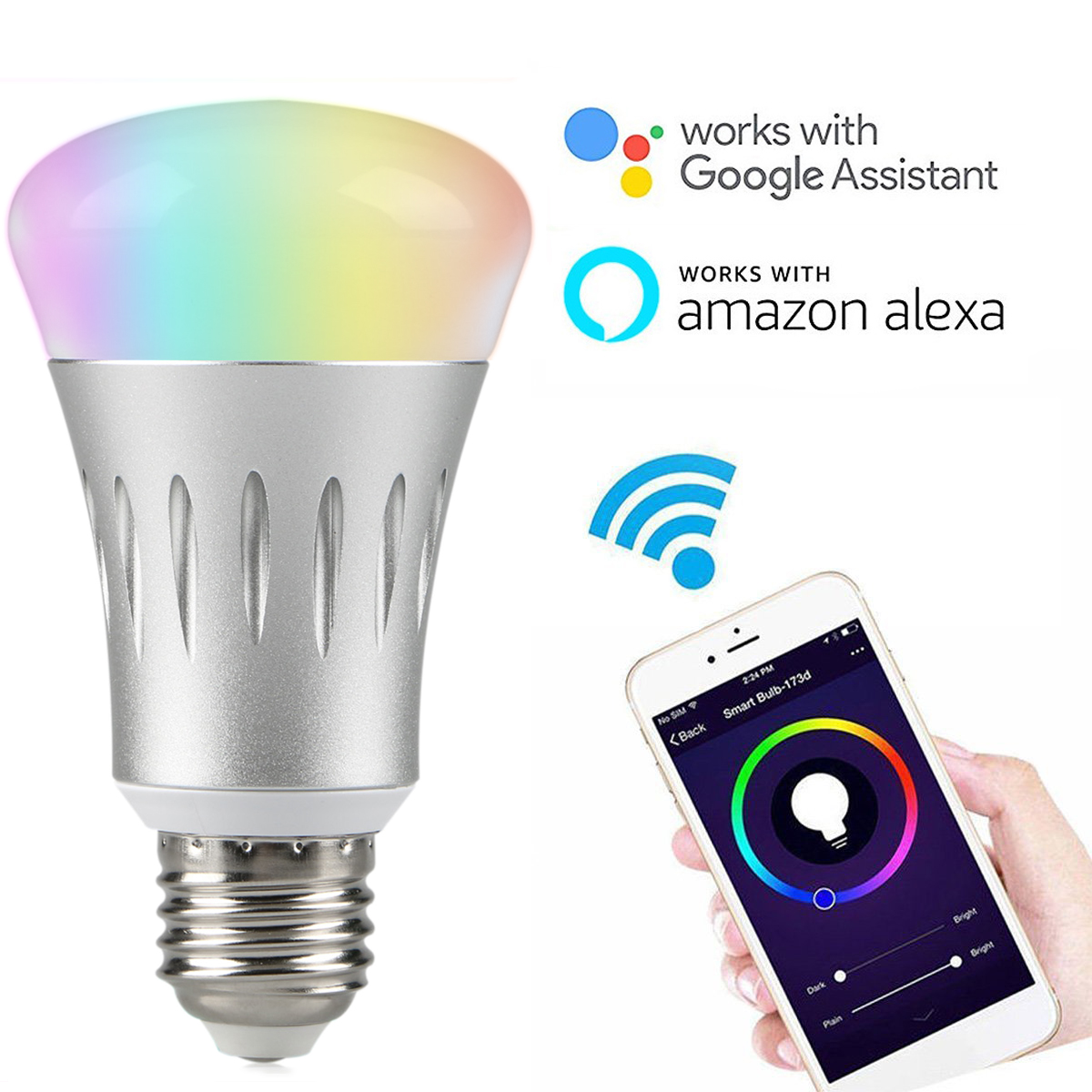 control lighting with iphone. TSV Wifi Smart LED Light Bulb Works With Alexa No Hub Required E27 RGB Multi Color Dimmable Daylight \u0026Night Timer App Control For Lighting Iphone