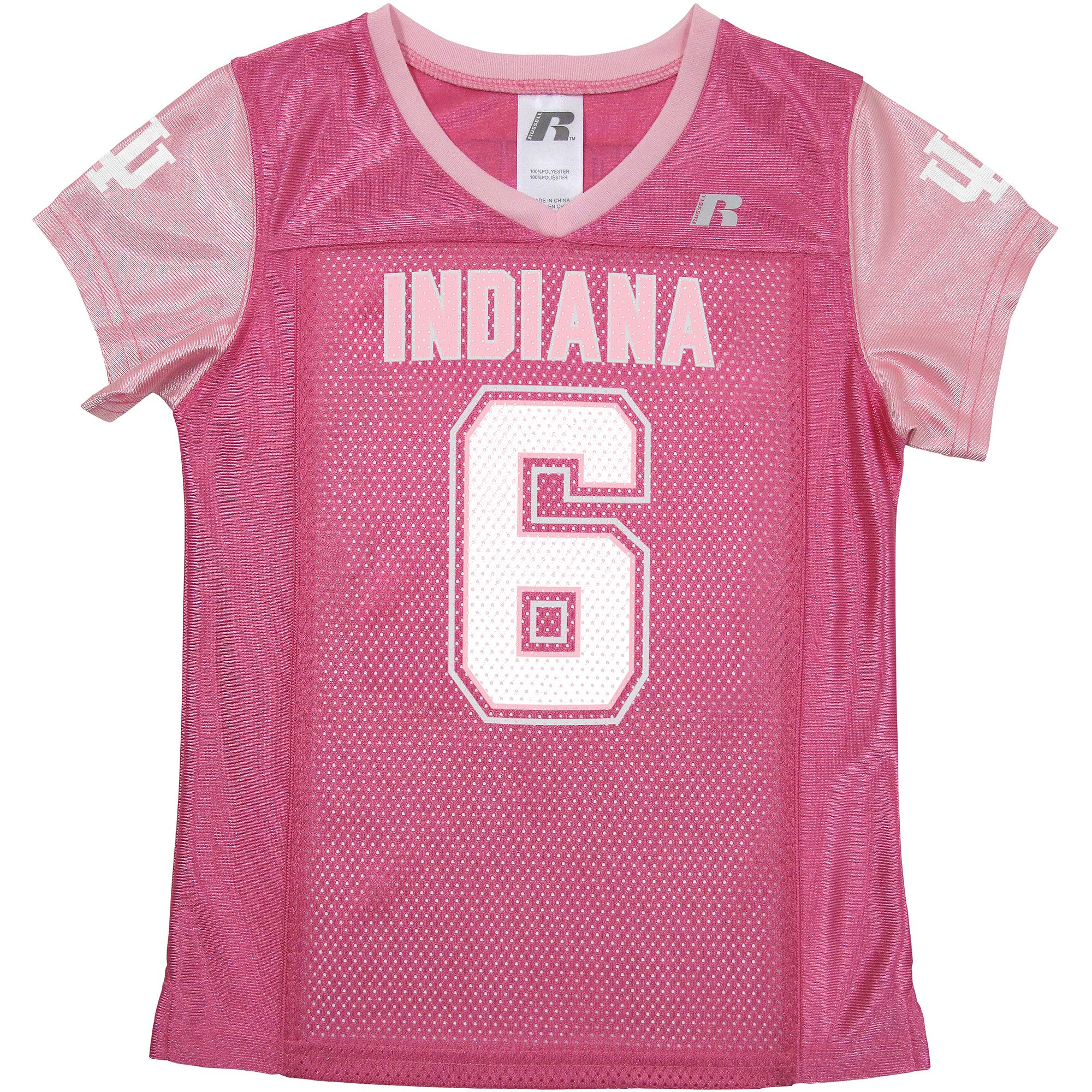 Russell NCAA Indiana Hoosiers, Girls Short Sleeve V-Neck Replica Jersey