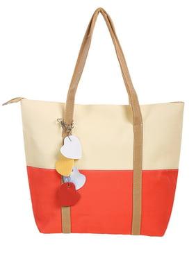 Women's Color Block Dual Handles Zippered Top Casual Tote Bags Beige