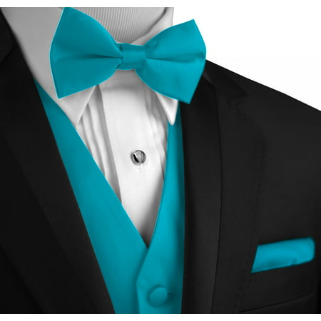 Italian Design, Men's Formal Tuxedo Vest, Bow-Tie & Hankie Set for Prom, Wedding, Cruise in Turquoise ()