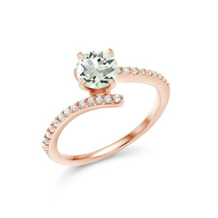 1.06 Ct Round Green Prasiolite 18K Rose Gold Plated Silver Ring
