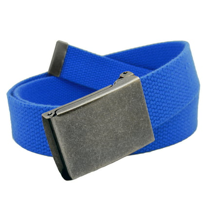 Men's Distressed Silver Flip Top Military Belt Buckle with Canvas Web Belt Small Royal Blue