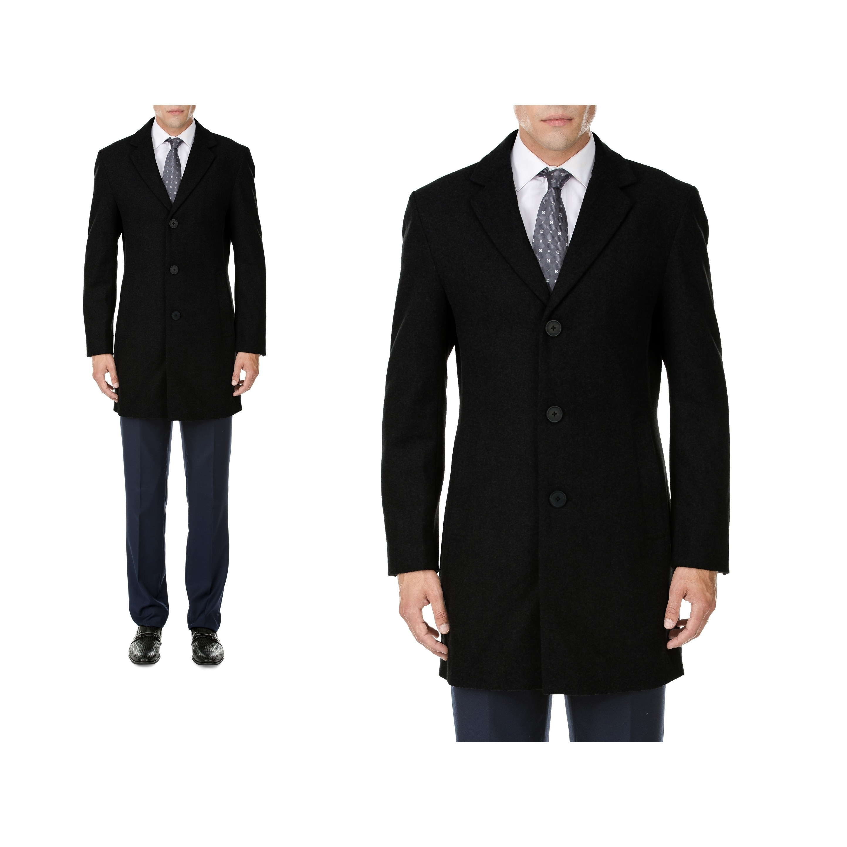 Daily Haute MDRN Uomo Men's Single Breasted Wool Blend Coats by Mens Wool Coats