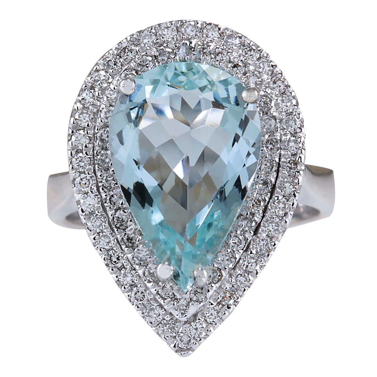 4.74CTW Natural Aquamarine And Diamond Ring In 14K White Gold by