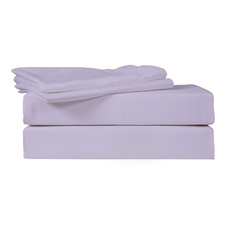 Solid Color Linen - Just Linen 540 Thread Count 100% Cotton Sateen, Solid Thistle Color, Full Bedding 4 Piece Sheet Set with Deep Pocketed Fitted Sheets