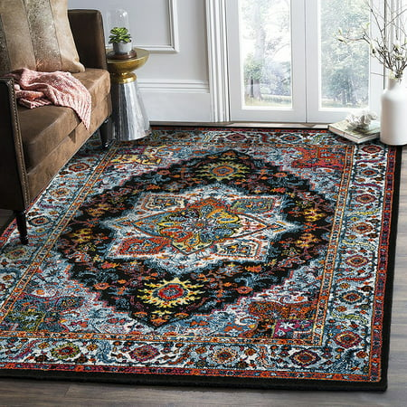 LR Home Fusion Black / Blue Medallion Traditional Turkish Ornamental Indoor Area Or Runner Rug ( 5'1