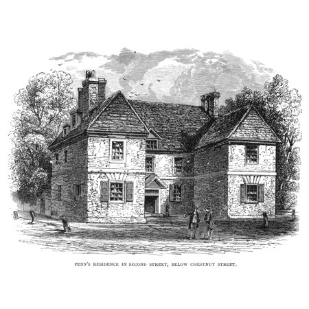 Home Of William Penn N 1644 1718  Founder Of Colony Of Pennsylvania Penns House In Philadelphia Wood Engraving 19Th Century Rolled Canvas Art     24 X 36