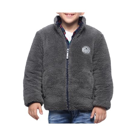 Rokka&Rolla Boys' Lightweight Water Resistant Poly Insulated Quilted Coat Sherpa Fleece Reversible Puffer Jacket Sherpa Reversible Jacket