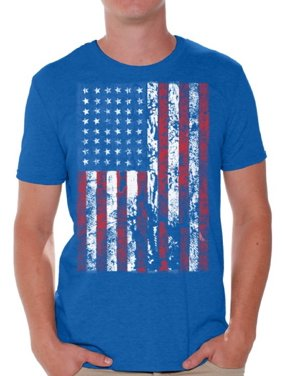 f8d5bc9634 Product Image Awkward Styles Men's USA Flag Distressed Graphic T-shirt Tops  4th of July Independence Day
