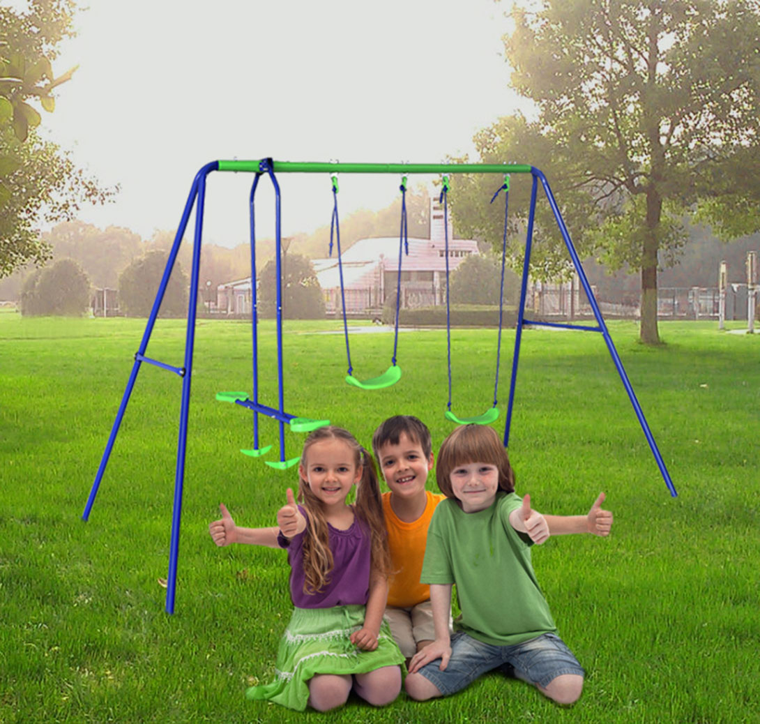 Outdoor Childrens Folding Swing Set with 2 Baby Swing & Seesaw, Best Birthday Gift