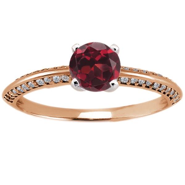 0.94 Ct Round Red Hydro Garnet Diamond 18K Rose Gold Ring
