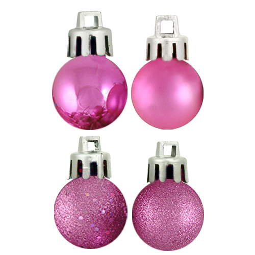 "18ct Bubblegum Pink 4-Finish Shatterproof Christmas Ball Ornaments 1.25"" (30mm)"