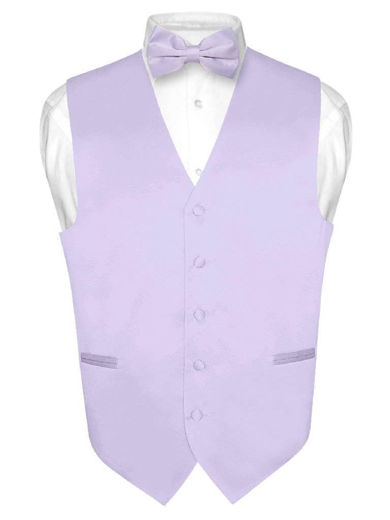 Men's Dress Vest & BowTie Solid Lavender Purple Color Bow Tie Set for Suit Tux