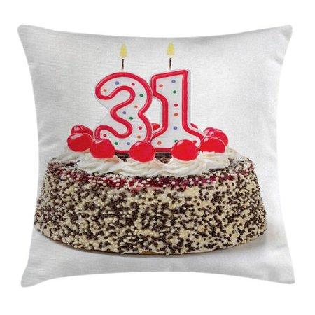 Ambesonne Party Cake Thirty One Candles Square Pillow Cover (Thirty One Order Tracking)