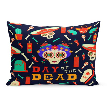 ECCOT Flower Mexican Happy Catrina Sugar Skull Traditional Includes Mariachi Pillowcase Pillow Cover Cushion Case 20x30 inch - La Catrina Sugar Skull