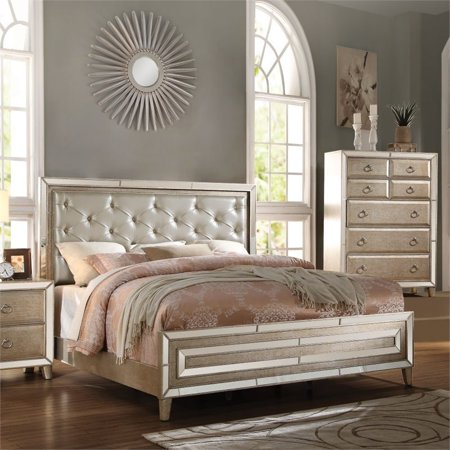 ACME Voeville Queen Bed in Matte Gold PU & Antique Gold, Multiple Sizes ()