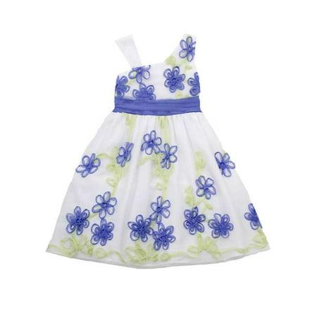Rare Editions Periwinkle Flower Soutache Dress 4-6X FINAL SALE 4
