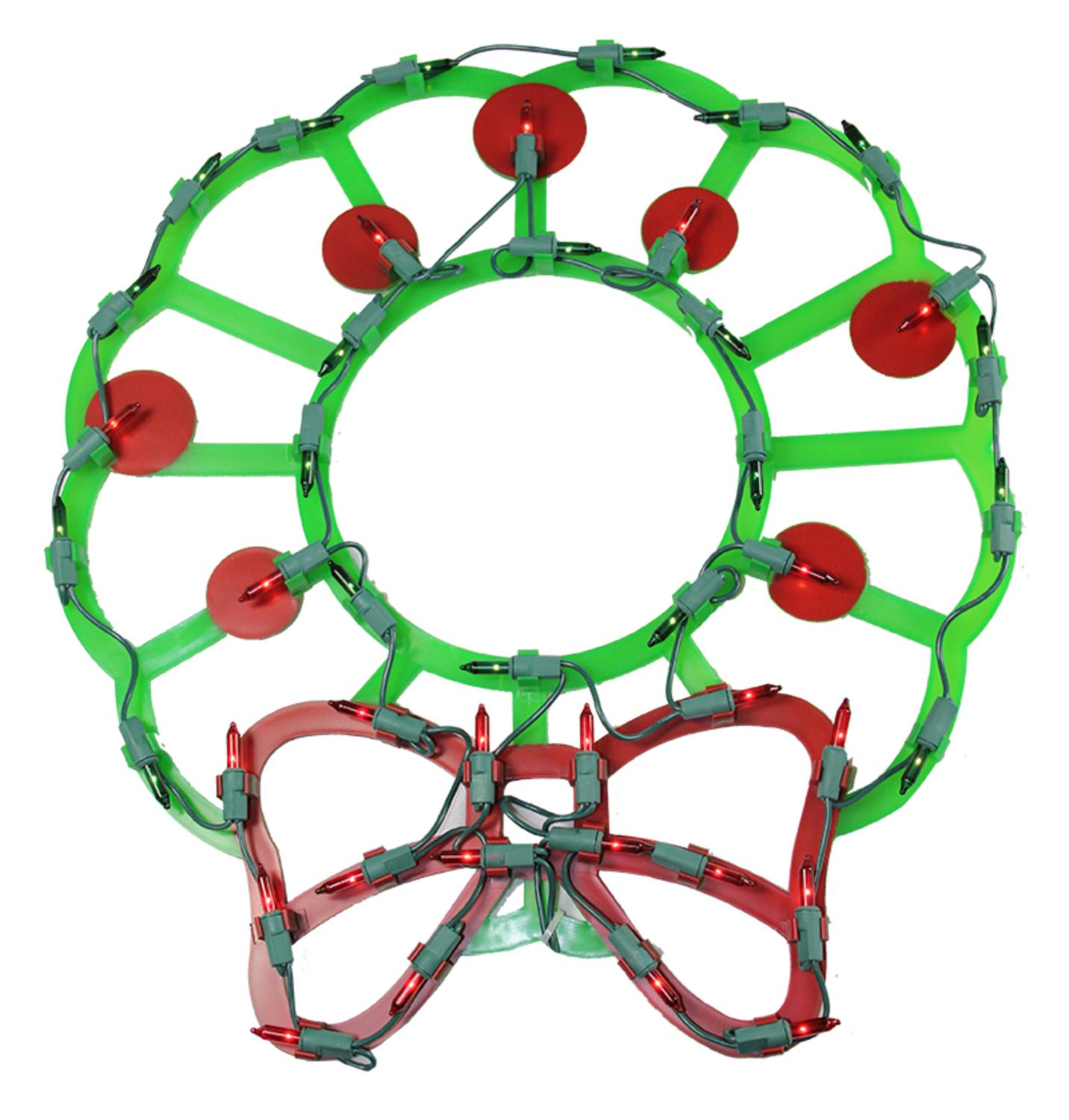 "15"" Lighted Wreath with Bow & Red Berries Christmas Window Silhouette Decoration"