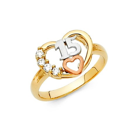 Jewels By Lux 14K Yellow White and Rose Three Color Gold Cubic Zirconia CZ Fifteen 15 Years Birthday Quincea–era Ring Size 7.5