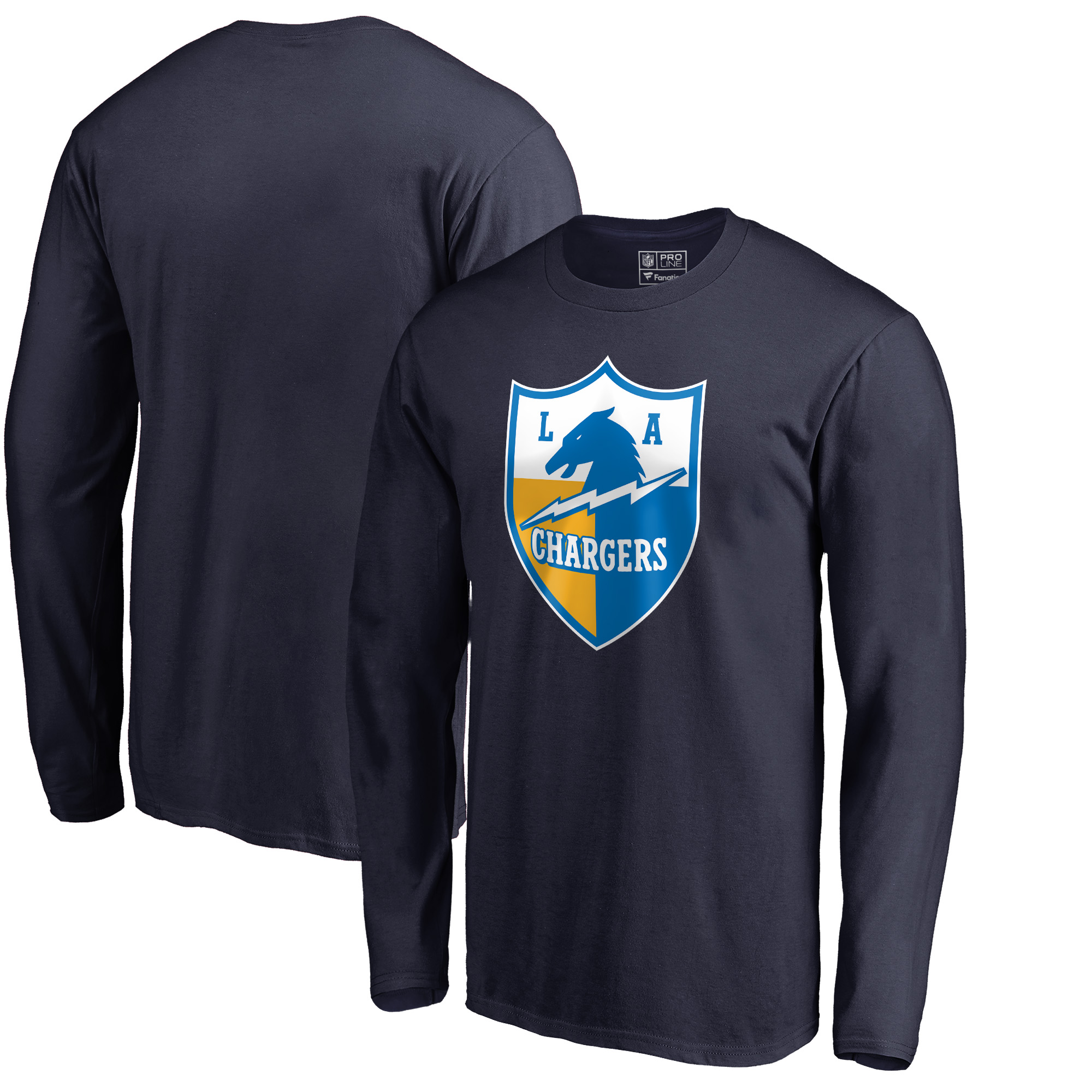 Los Angeles Chargers NFL Pro Line by Fanatics Branded Vintage Shield Logo Long Sleeve T-Shirt - Navy