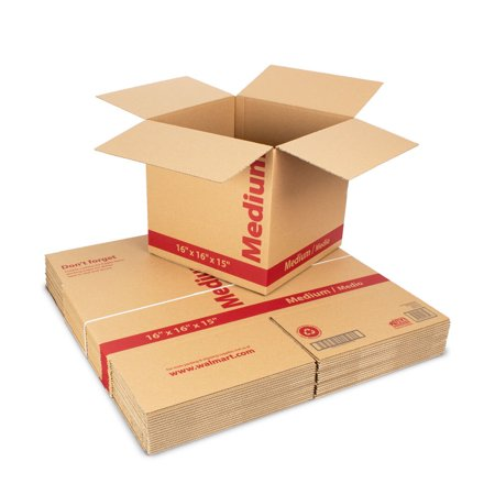 (18 count) 16L x 16W x 15H in. Recycled Kraft Moving Boxes (Cardboard Box With Handle)