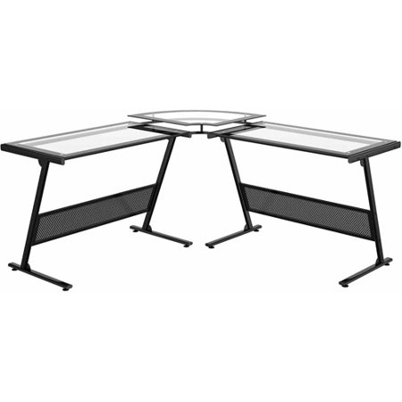 Alexa Glass Quot L Quot Computer Desk Black Finish Walmart Com