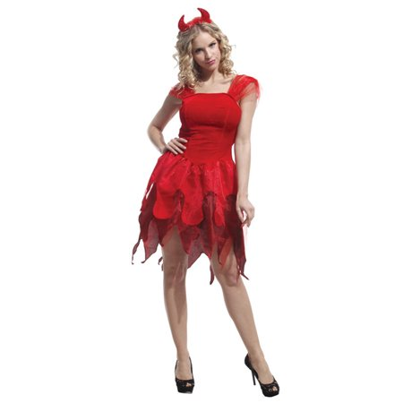 Women's Elegantly Evil Fancy Red Devil Dress Costume, - Angel And Devil Couple Costume