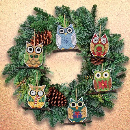 Owl Ornaments Counted Cross Stitch Kit, 3