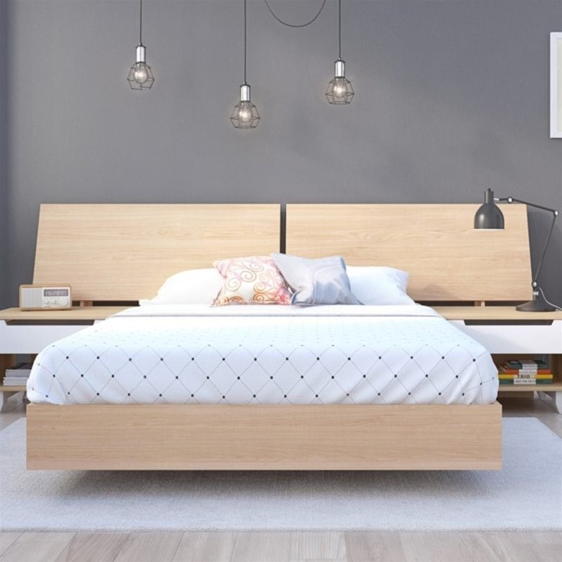 Nexera Nordik Full Platform Bed with Panoramic Headboard in Maple - image 2 of 2