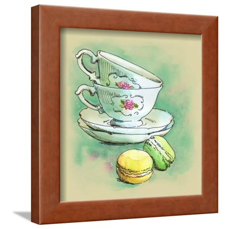 (Painted Watercolor French Dessert Macaroons and Tea Cups Framed Print Wall Art By lozas)