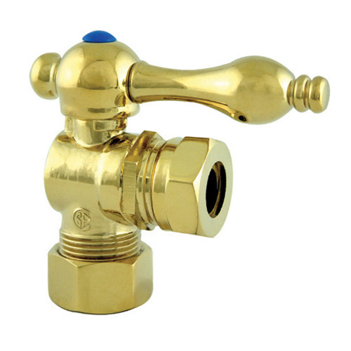 """Kingston Brass Vintage Angle Stop with 1/2"""" IPS x 1/2"""" or 7/16"""" Slip Joint - Polished Brass"""