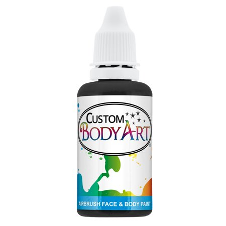 Black Body Paint (1 oz BLACK Custom Body Art Water-Based Airbrush Face and Body Paint)