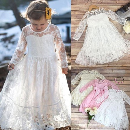Toddler Kids Girls Princess Lace Bow Dress Wedding Party Formal Pageant Dress - Girls Party Dresses