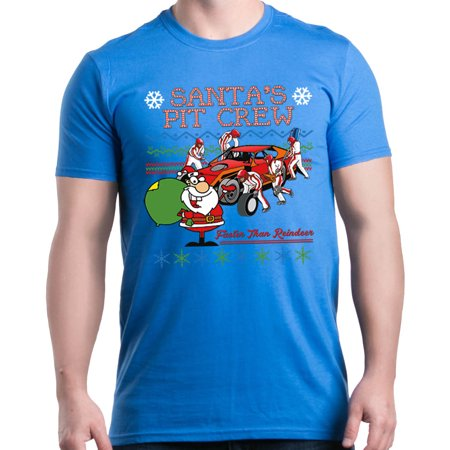 - Shop4Ever Men's Santa's Pit Crew Faster Christmas Ugly Xmas Graphic T-shirt