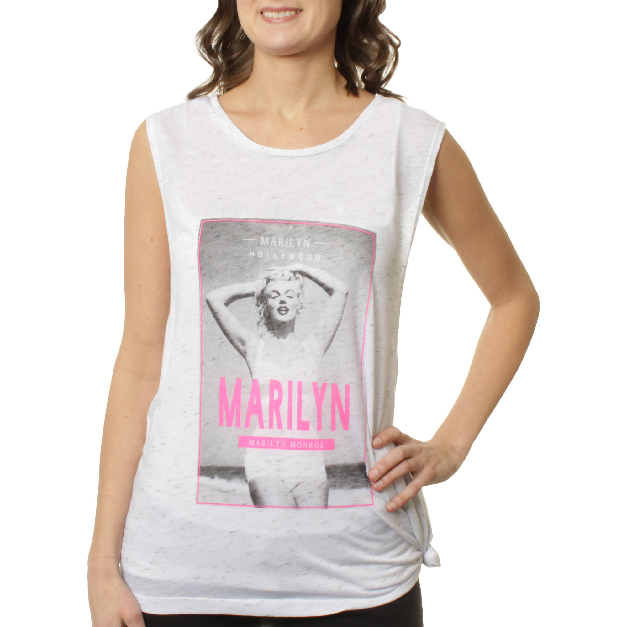 Marilyn Monroe Juniors' Poster Graphic Side Tie Drapey Muscle Tank