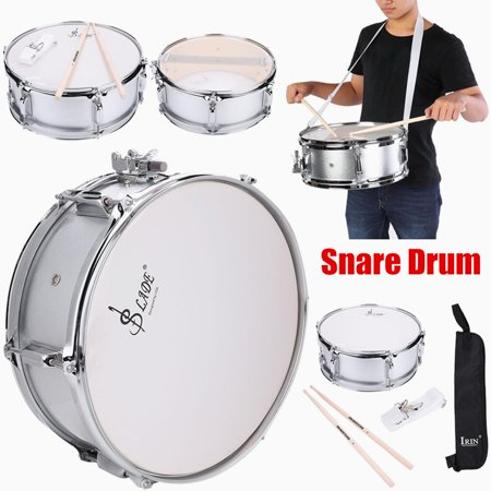 HERCHR Stainless Steel Snare Drum Beginner Kit Student Drum with Bag Drumstick Strap Silencer Mute Snare Drum Set